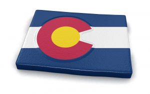 Map of Colorado state with flag